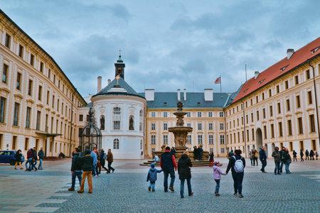 Beautiful Square at Prague Castle - PRAGUE / CZECH REPUBLIC - MARCH 20, 2017