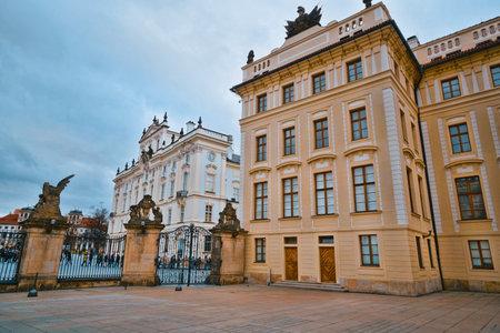 A square at Prague Castle - a beautiful place - PRAGUE / CZECH REPUBLIC - MARCH 20, 2017