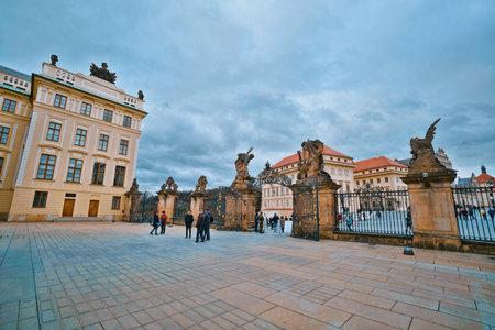 Impressive buildings of Prague Castle - PRAGUE  CZECH REPUBLIC - MARCH 20, 2017