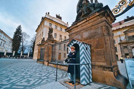 Entrance to Prague Castle - wide angle shot - PRAGUE / CZECH REPUBLIC - MARCH 20, 2017