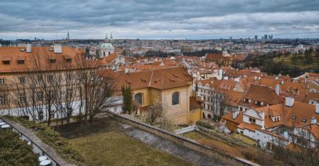 Wonderful aerial view over the city of Prague from Prague castle 版權商用圖片