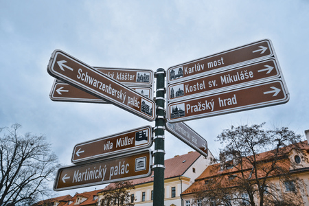 Direction signs at Prague Castle - PRAGUE  CZECH REPUBLIC - MARCH 20, 2017