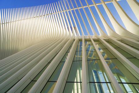 Amazing Westfield World Trade Center - modern Shopping Mall at Ground Zero- MANHATTAN  NEW YORK - APRIL 1, 2017 Editorial