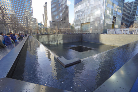 We will never forget - the Ground Zero Memorial at World Trade Center- MANHATTAN  NEW YORK - APRIL 1, 2017 Editorial