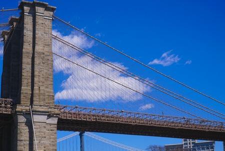 Ancient Brooklyn Bridge New York - an iconic landmark- MANHATTAN  NEW YORK - APRIL 1, 2017