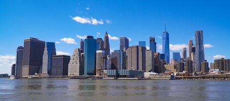 Typical Manhattan New York Skyline - view from Hudson River- MANHATTAN  NEW YORK - APRIL 1, 2017 Stock Photo