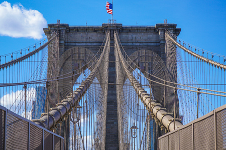 Brooklyn Bridge New York - a famous landmark- MANHATTAN  NEW YORK - APRIL 1, 2017 Stock Photo
