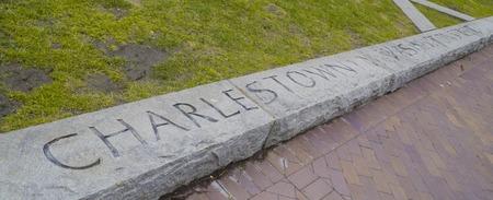 samuel: Boston Charlestown engraving in a stone - BOSTON , MASSACHUSETTS - APRIL 3, 2017 Stock Photo