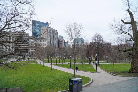 Beautiful Boston Common Park in the city - BOSTON , MASSACHUSETTS - APRIL 3, 2017