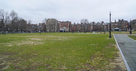 Relaxing walks through Boston Common - a park in the city center - BOSTON , MASSACHUSETTS - APRIL 3, 2017
