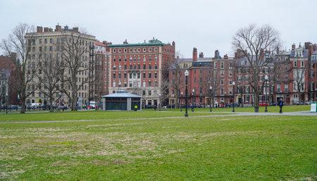 Beautiful old houses around Boston Common - BOSTON , MASSACHUSETTS - APRIL 3, 2017 Editorial