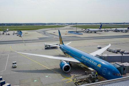 The apron of Frankfurt airport - Vietnam airlines - FRANKFURT - GERMANY - APRIL 1, 2017