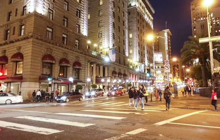 Street view in Downtown San Francisco at night - SAN FRANCISCO - CALIFORNIA - APRIL 17, 2017