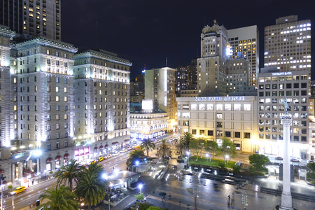 Aerial view over Union Square in San Francisco at night - SAN FRANCISCO - CALIFORNIA - APRIL 17, 2017 Editorial