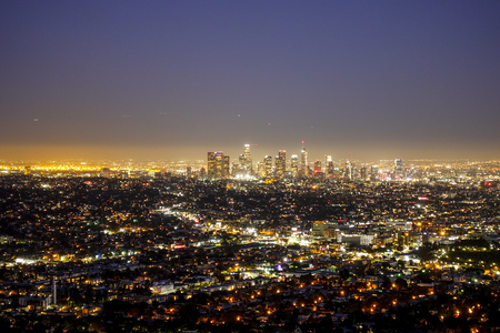 City lights of Los Angeles - amazing aerial view - LOS ANGELES - CALIFORNIA - APRIL 19, 2017 Stock Photo