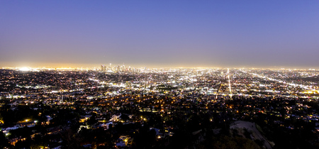 The huge city of Los Angeles at night - aerial view - LOS ANGELES - CALIFORNIA - APRIL 19, 2017 Stock Photo