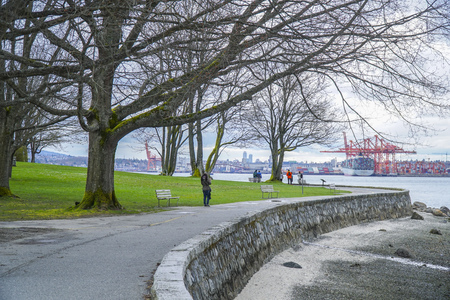 Stanley Park in Vancouver - beautiful landmark - VANCOUVER - CANADA - APRIL 12, 2017