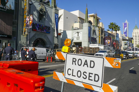Road Closed sign on Hollywood Boulevard - LOS ANGELES - CALIFORNIA - APRIL 20, 2017