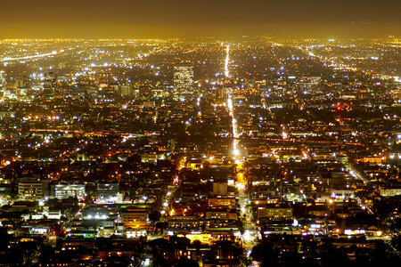 santa monica: Aerial view over the city of Los Angeles by night - view from Griffith Observatory - LOS ANGELES - CALIFORNIA Stock Photo