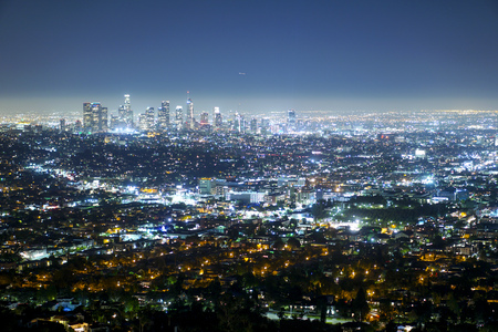 Aerial view over the city of Los Angeles by night - view from Griffith Observatory - LOS ANGELES - CALIFORNIA Stock Photo