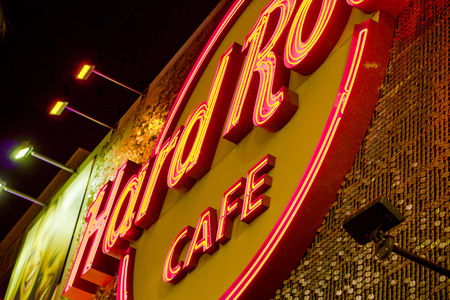 The Hard Rock Cafe in Hollywood by night - LOS ANGELES - CALIFORNIA - APRIL 20, 2017