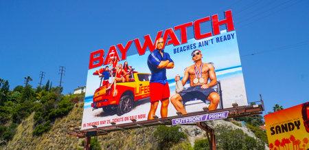 Huge billboard on Sunset Strip Los Angeles - Baywatch The Movie - LOS ANGELES - CALIFORNIA - APRIL 20, 2017