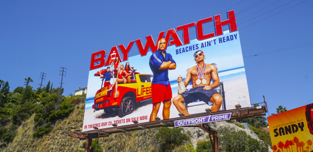 Huge billboard on Sunset Strip Los Angeles - Baywatch The Movie - LOS ANGELES - CALIFORNIA - APRIL 20, 2017