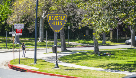 The famous Beverly Hills sign on Santa Monica Blvd - LOS ANGELES - CALIFORNIA - APRIL 20, 2017