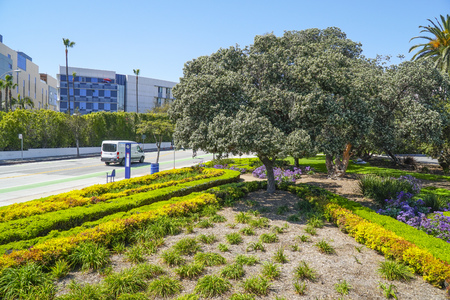 Beautiful street view in Santa Monica - LOS ANGELES - CALIFORNIA - APRIL 20, 2017 Editorial