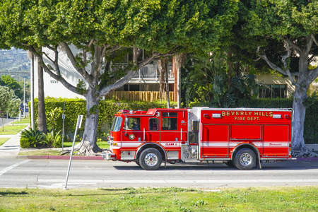 Beverly Hills Fire Department in Los Angeles - LOS ANGELES - CALIFORNIA Editorial