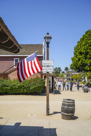 Street view at San Diego Old Town Historic State Park - SAN DIEGO - CALIFORNIA - APRIL 21, 2017 Editorial