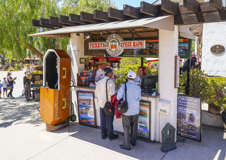 Ticket sale booth for Old Town Trolley in San Diego - SAN DIEGO - CALIFORNIA - APRIL 21, 2017