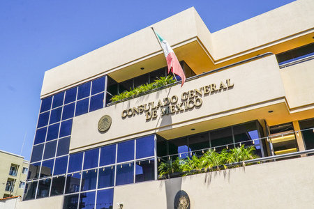 Mexican Embassy in the city of San Diego - SAN DIEGO - CALIFORNIA - APRIL 21, 2017 Editorial