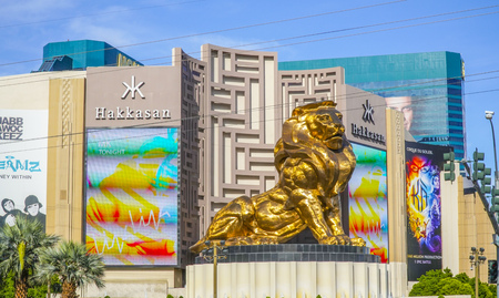 The golden lion at MGM Grand Hotel in Las Vegas - LAS VEGAS - NEVADA - APRIL 23, 2017