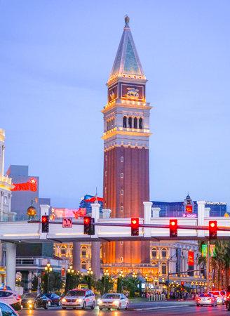 Evening view of Venetian Hotel Las Vegas - LAS VEGAS - NEVADA - APRIL 23, 2017