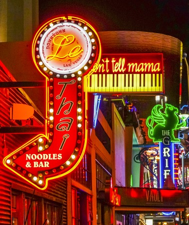 gambler: Thai restaurant in Downtown Las Vegas - neon sign - LAS VEGAS - NEVADA - APRIL 23, 2017