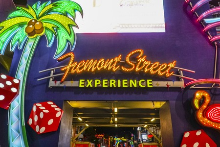 gamblers: Neon sign - Fremont Street Experience in Downtown Las Vegas - LAS VEGAS - NEVADA - APRIL 23, 2017