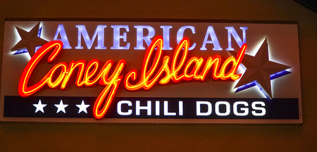 gamblers: American Coney Island Chili Dogs in Downtown Las Vegas - LAS VEGAS - NEVADA - APRIL 23, 2017 Editorial