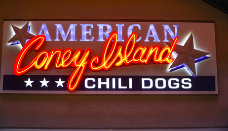 hotel building: American Coney Island Chili Dogs in Downtown Las Vegas - LAS VEGAS - NEVADA - APRIL 23, 2017 Editorial