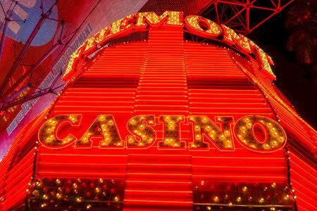 Fremont Casino Neon lights at Downtown Las Vegas - LAS VEGAS - NEVADA - APRIL 23, 2017