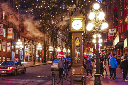 The old town of Vancouver at night - Gastown district - VANCOUVER / CANADA - APRIL 12, 2017 Sajtókép