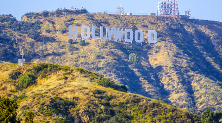 Famous Hollywood sign in Los Angeles - LOS ANGELES  CALIFORNIA - APRIL 20, 2017 Editorial