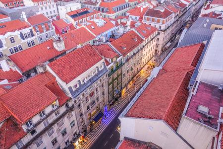 tagus: Aerial view over Augusta street pedestrian zone in Lisbon - LISBON - PORTUGAL - JUNE 17, 2017
