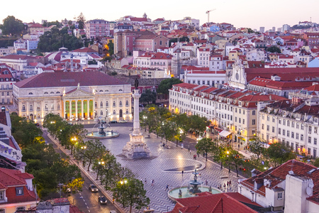 tagus: Aerial view over Dom Pedro Square in Lisbon Rossio - LISBON - PORTUGAL