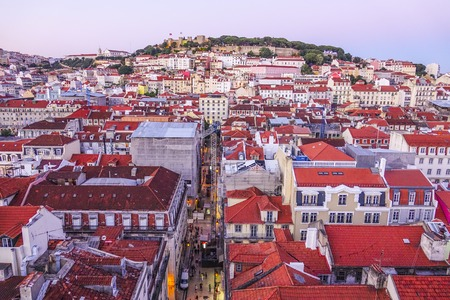The beautiful hills of Lisbon - aerial view from Santa Justa elevator - LISBON - PORTUGAL