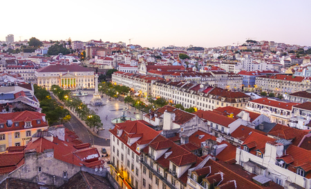 tagus: Amazing aerial view over the city of Lisbon - aerial view from Santa Justa Elevator - LISBON - PORTUGAL