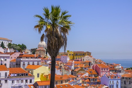 tagus: Sightseeing platform on the hill of Alfama Lisbon with a perfect view over the city - LISBON - PORTUGAL