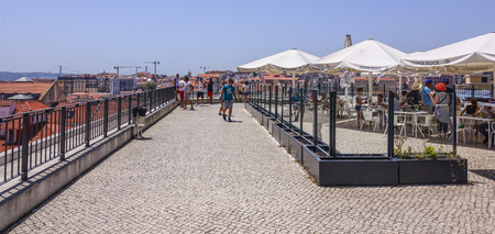 tagus: Terrace over the rooftops of Lisbon with a view over the city - LISBON - PORTUGAL - JUNE 17, 2017