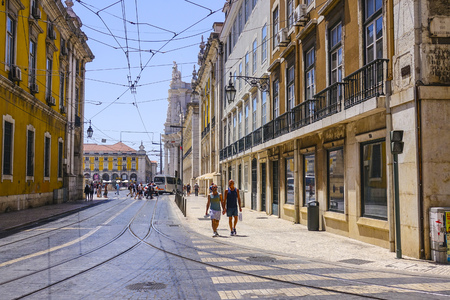 tagus: Typical street view in the city center of Lisbon - LISBON - PORTUGAL - JUNE 17, 2017