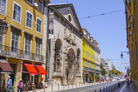 Lisbon city center street view at Comercio Square - LISBON - PORTUGAL - JUNE 17, 2017 Editorial